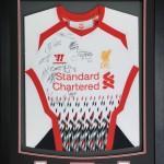 Liverpool signed framed shirt
